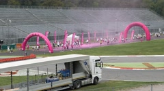 Color Run on a track car Stock Footage