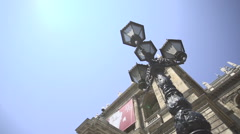 Old vintage street light, lamp in slow motion at summer in Budapest Stock Footage