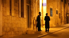 Two Rabbis in the Ultra Orthodox Jewish community Mea Shearim Stock Footage