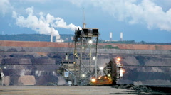 Mining machinery working in open pit, Ruhr, Germany Stock Footage