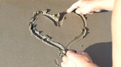 Heart In The Sand - Romantic- Beach - Beach Sand Heart Shape Stock Footage