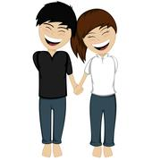 A happy couple smiling - stock illustration