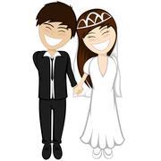 Happy newlyweds smiling - stock illustration