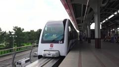 A Moscow Monorail (in 4k) train pulling in to a station, Moscow, Russia. Stock Footage