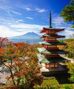 Mt. Fuji with Chureito Pagoda, Fujiyoshida, Japan Stock Photos