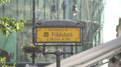 Metro plate, sign in Budapest, Hungary, Europe Stock Footage