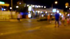 Blurry street lights at night. - stock footage