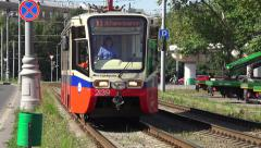 A Russian tram (in 4k) moving towards the camera in Moscow, Russia. Stock Footage
