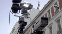 Broadcast cameras set up,television filming and coverage Stock Footage