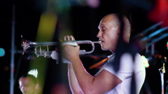 Musician playing a saxophone at jazz fest, close up Stock Footage