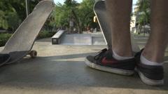 Skateboard at skatepark in Europe, Hungary Stock Footage