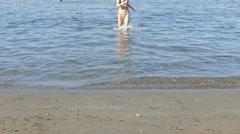 Sand Beach - Girl Walking In The Sea - Hot Girl In the Sea-Hot Girl On The Beach Stock Footage