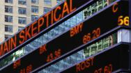 Stock Video Footage of Stock market ticker digital display New York City NYC