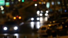 Blurry street lights at night. Stock Footage
