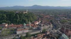 Aerial - Ljubljana Castle above the downtown of Ljubljana Stock Footage