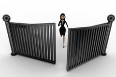 3d woman running and try to escape from closing gates concept - stock illustration