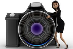 3d woman with digital slr camera concept - stock illustration