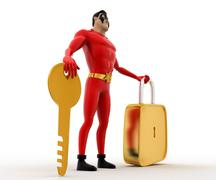 3d superhero wth  golden key and lock concept Stock Illustration