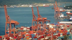 Busy Port With Hundreds Of Crates In The Daytime Stock Footage