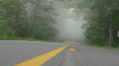 Foggy US highway in Shenandoh national park Stock Footage