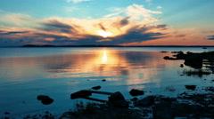Beautiful Sunrise on The Lake Vodlozero, Karelia Stock Footage