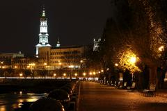 quay night city Kharkiv, Ukraine - stock photo