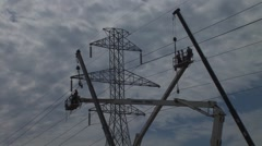Utility Workers on Power Line Arkistovideo