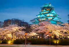 Osaka castle in cherry blossom season, Osaka, Japan Stock Photos