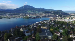 Aerial Footage of Lucerne with Mount Pilatus in the background, 4K, UHD Stock Footage