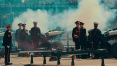 Telephoto Shot of a Gun Salute on Remembrance Day Stock Footage