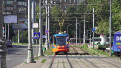 Looking down the tracks at a tram (in 4k) in Moscow, Russia. Stock Footage