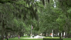 Park in Savannah, spanish moss and us flag Stock Footage