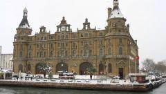 Snow covered Haydarpasa Train Station on a cold winter day. Istanbul, Turkey Stock Footage