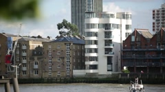 Luxuty flats by Thames River, London Stock Footage