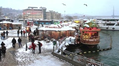 A snowy day in Istanbul with the static camera shots Stock Footage