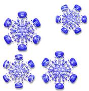 Blue textured snowflakes pattern with drop shadow. Seamless pattern Stock Illustration