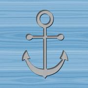 Anchor motif with drop shadow on wooden background - stock illustration