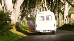 White Van in The Dark Hedges Stock Footage