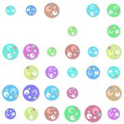 Seamless circular elements pattern with drop shadow Stock Illustration