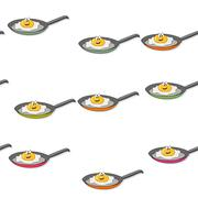 Seamless colored fried egg pattern - stock illustration