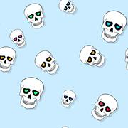 Seamless pattern with skulls and hearts on blue.... Stock Illustration