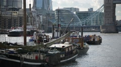 Wooden Ships on Thames River with London City Hall, London, England Stock Footage