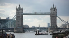 Tower Bridge full view with dramatic sky, London, England, Europe Stock Footage
