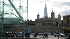 Tower of London and Shard, glass offices, London, England Stock Footage