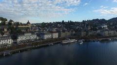 Aerial Footage of lakefront of Lucerne, 4K, UHD - stock footage