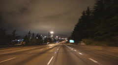 Driving POV Approaching Seattle on I5 at Night Stock Footage