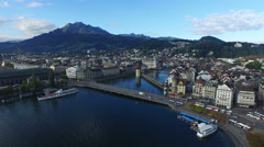 Aerial Footage of Lucerne with Water Tower, 4K, UHD Stock Footage
