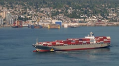 Freighter Ship Turning In The Bay Stock Footage