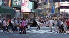 4K Times Square Pedestrians Crossing Intersection Stock Footage