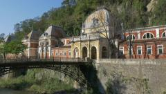 Roman  baths and  river Cerna   of spa resort Herculane  Stock Footage